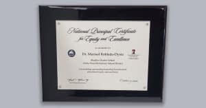 National Principal Certificate for Equity and Excellence.